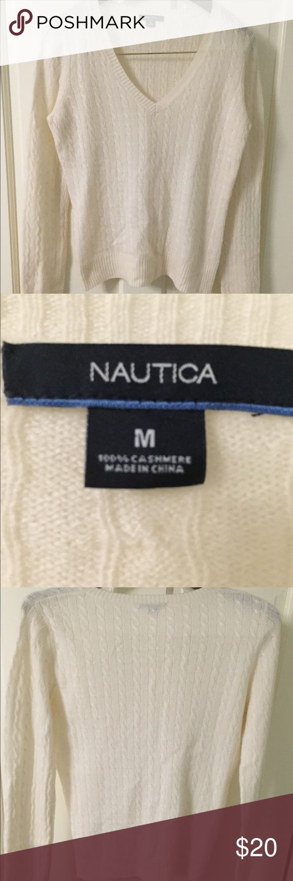Nautica Cashmere V-neck sweater 100%cashmere v-neck sweater. Perfect for work, holidays and going out! Classic staple in your closet. worn twice, small pulling under arms. Have not tried to remove it. FAST SHIP! Nautica Sweaters V-Necks