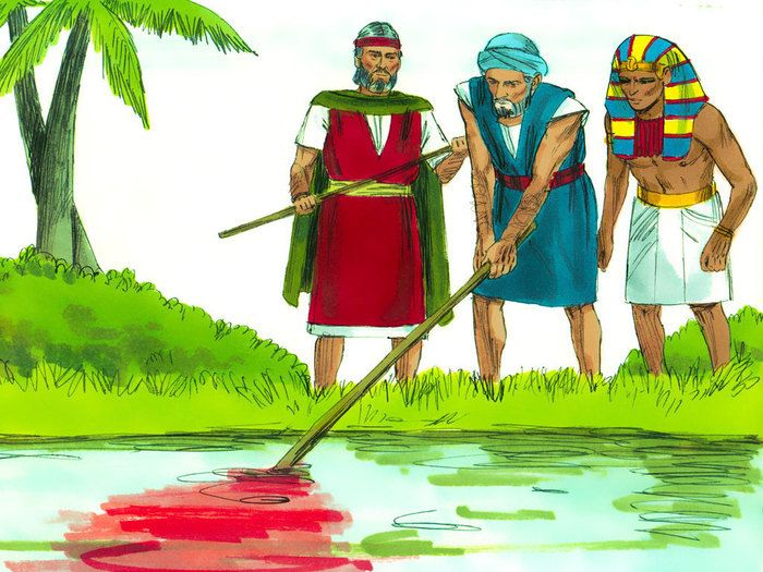 Free Bible illustrations at Free Bible images of Moses and the first seven plagues God sent on Egypt. (Exodus 7 - 9): Slide 2