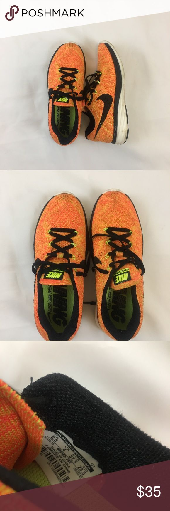 Nike Flyknit Lunar 3 Sz 6.5 🧡 Orange flyknit lunar 3 sneakers by Nike. Comfy flyknit upper with detached (vs fixed/ sewn in) tongue and cushy sole. Light wear to sole and some to upper. Size 6.5; retail $150 Nike Shoes Athletic Shoes