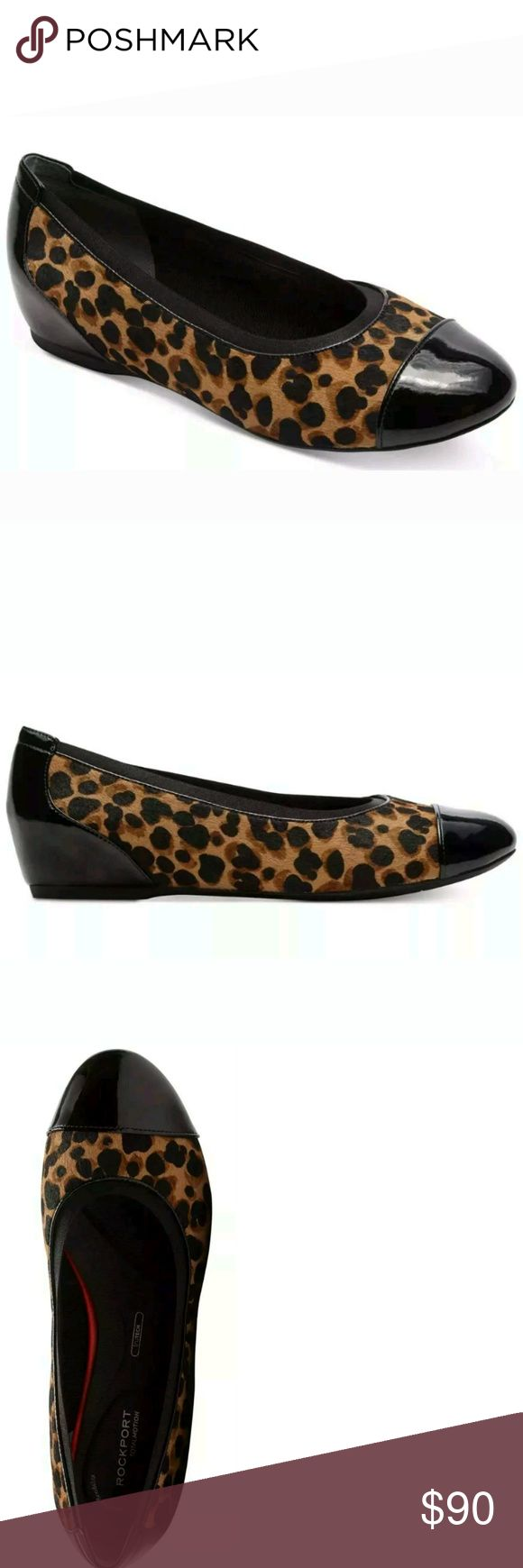Rockport Ballet Flats Leopard Print Size 5 Walk taller in the Rockport® Total Motion® Hidden Wedge Gore Cap Toe. Soft uppers help create a glove like fit. A TPU plate adds stability and flexibility, that are designed to provide all-day support. Our truTech™ and truTech™+ technologies offer maximum shock absorption and are created to give you comfort with every step. Dress them up for the office, or pair them with your favorite jeans. Your feet can look and feel great. Rockport Shoes Flats…