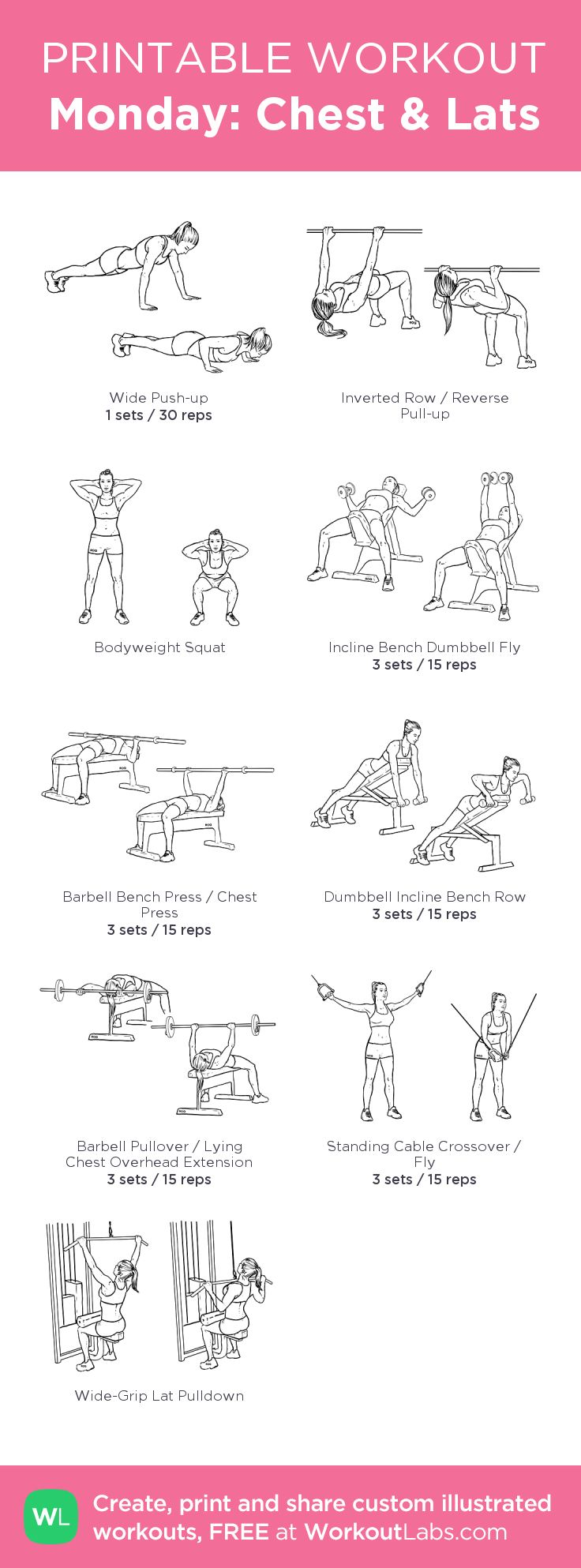 AMRAP 15 mins: 5 inverted row, 10 push up, 15 squats. WEIGHT PYRAMIDS: 15 - 10 - 6 reps. 6 exercises for Chest and Lats