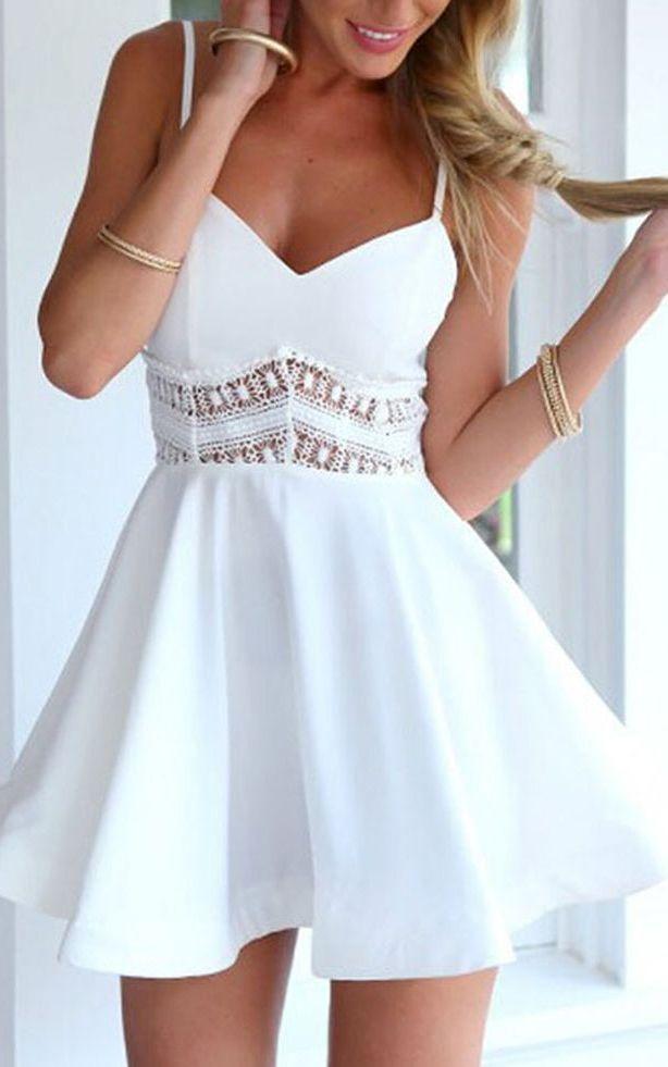 White Spaghetti Strap Lace Waist Skater Dress