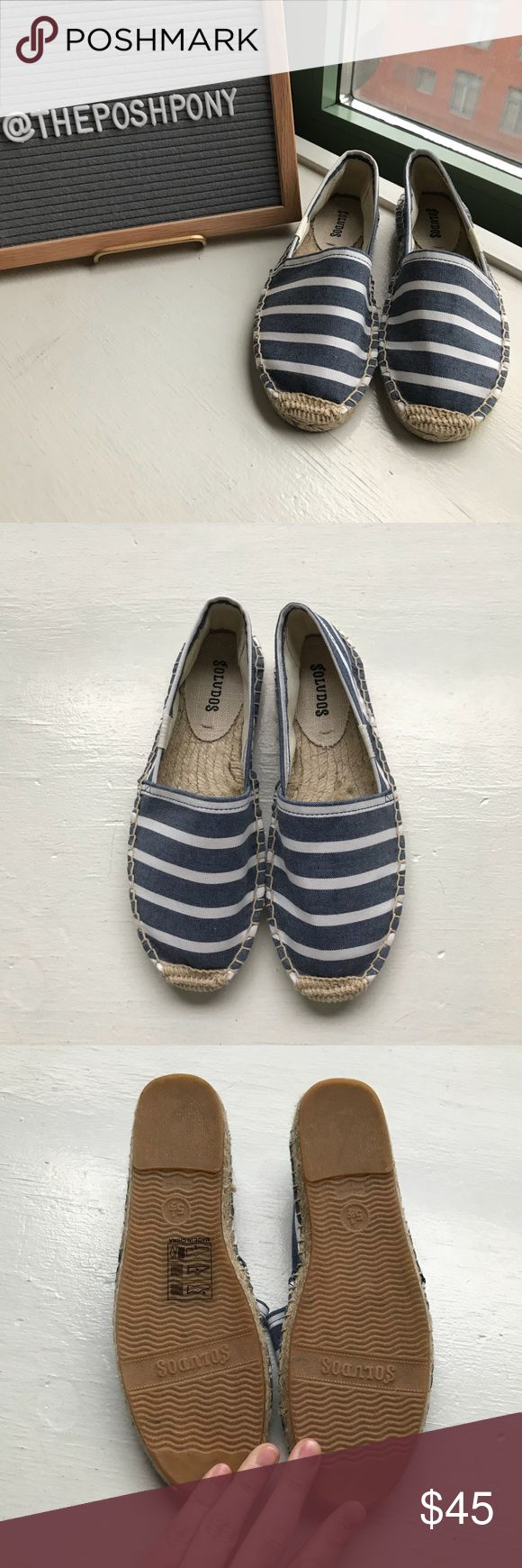 NWOT Soludos Blue and White Stripped Espadrilles New without tags, never worn Soludos Smoking Slipper Espadrilles Shoes in Navy and white stripe, size 5.5. Perfect flat shoe for spring and summer, beautiful comfortable shoes with classic denim navy and white print and natural trim. Never worn, perfect condition.  Box is not included.  No trades. Offers and bundles considered.  Please refer to the size chart and reviews on brand's website for fit information, I do not know if these will fit…