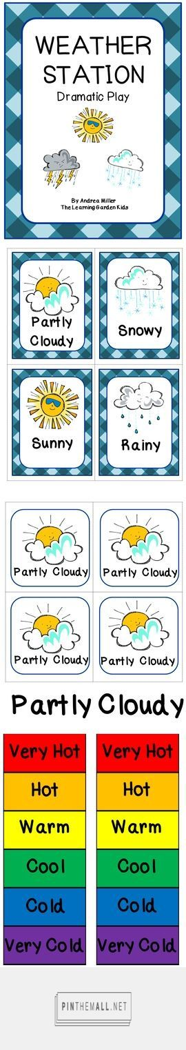 What's the weather like today? Have your little ones act as meteorologist of the day in the dramatic play center or as a circle time activity. With these print outs and a few extra items children can have hours of cretive play and learning fun!