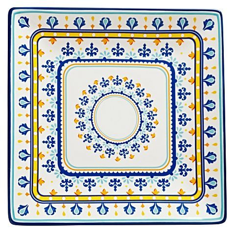 Bring a flair for bold colour to your dining table with the ceramic Firenze Square Platter, 34cm from Casa Domani.