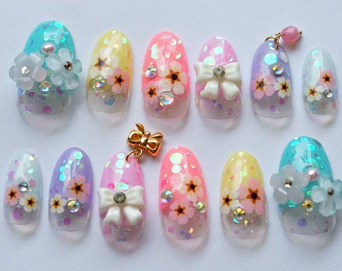 Uñas kawaii, uñas 3D, clavo Japon, uñas arte, primavera clavo, clavo de verano, uñas deco, uñas ovaladas, uñas pastel, flores uñas, uñas colgando
