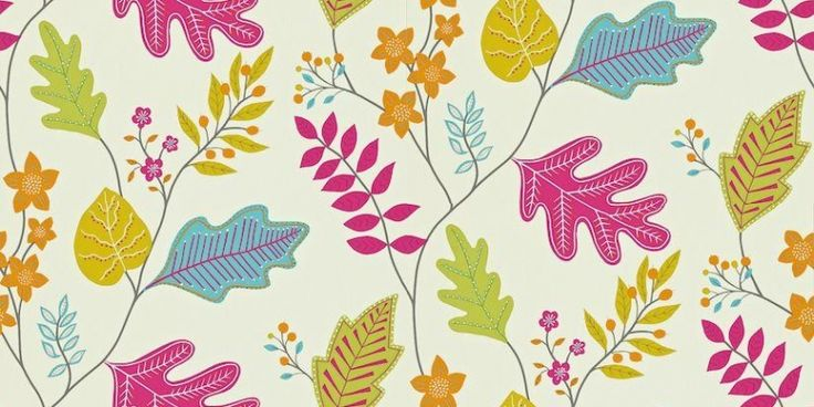 Lacarno (110298) - Harlequin Wallpapers - A contemporary stylized leaf trail design. Showing in shades of pink, blue, green and orange on a off white background - other colour ways available. Please request a sample for true colour match. Paste-the-wall product.