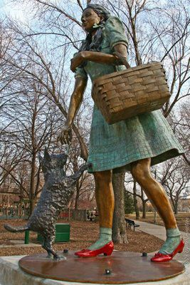 Located in Oz Park, Dorothy and Toto, the Cowardly Lion, the Scarecrow and the Tin Man all have their places along with a yellow brick path in Lincoln Park, Ill.