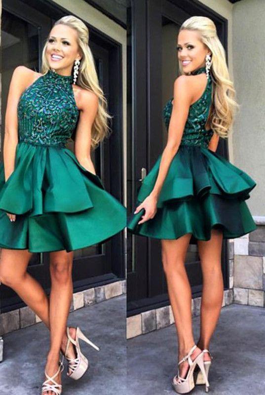 prom dresses,short prom dresses,halter prom dresses,elegant prom dresses,fancy prom dresses,dark green prom dresses,short party dresses,short prom dress,fashion,women fashion,fashion style