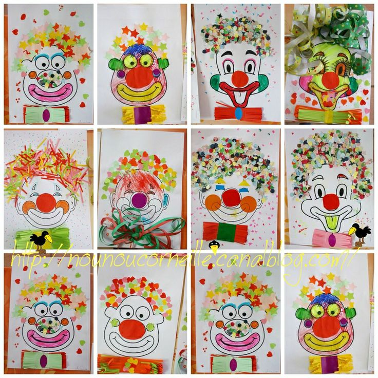 Clown met confetti en serpentines