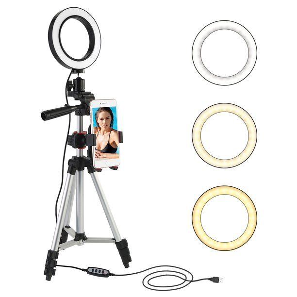 5 7 360 Rotation Led Selfie Ring Light For Live Stream Makeup Youtube Video With 3 Light Modes With Tripod Stand Cell Phone Holder For Iphone Android Phone In 2020 Selfie Ring Light Camera