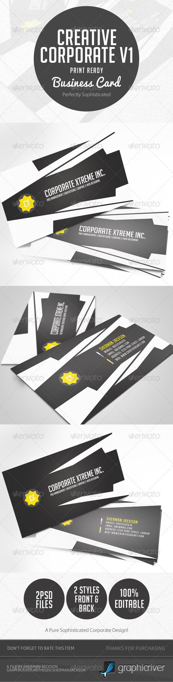 Best 25 standard business card size ideas on pinterest card creative corporate business card v1 magicingreecefo Image collections
