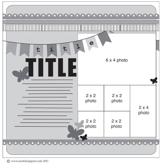 another one page layout based on the 2-page layout with banners. #scrapbooking #sketch #layout