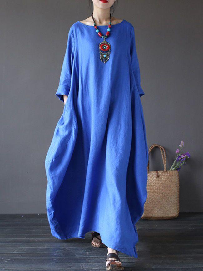 26246474706 Oversized Round Neck No Pocket Plain Maxi Dress