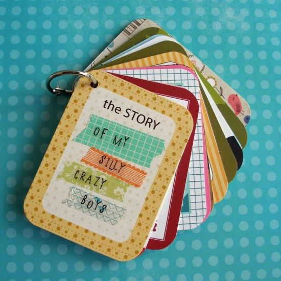This would make a cute quiet book for children... People in my family, animals, numbers, ABCs, colors, shapes... so many options for a book you can toss into your diaper bag/purse for emergencies.