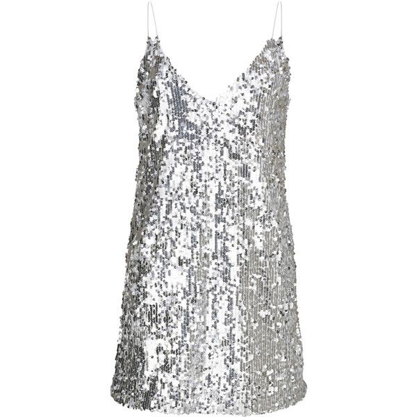 SKYFALL DRESS SILVER WOMEN (1 705 UAH) ❤ liked on Polyvore featuring dresses, white v neck dress, silver dress, silver sequin dress, v neckline dress and v neck dress