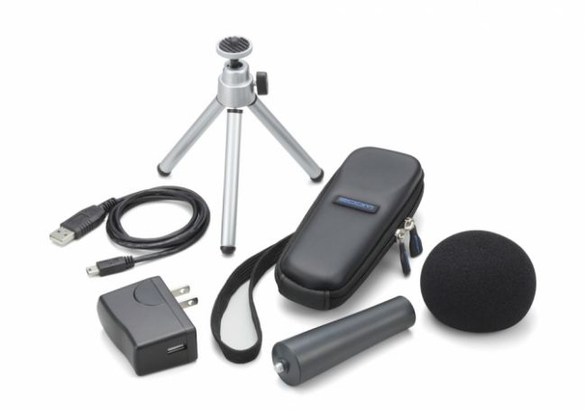 The APH-1 package, which is sold separately, includes six additional accessories for the H1. The package includes a windscreen, a mic stand clip adapter, an adjustable desktop tripod, a soft case, an AC adapter (USB type) and a USB cable.