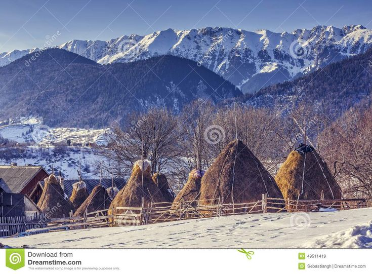 Winter rural landscape with traditional Romanian farm with sheep pen and haystacks near Piatra Craiului massif in Magura village, Brasov county, Romania.