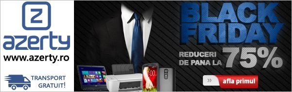 Black Friday la Azerty – REDUCERI de 80% Oferte speciale pentru Laptopuri, HDD externe, Calculatoare, Multifunctionale, TV LED, Servere. Azerty.ro este magazin partener MyCashBack.ro – prin care primiti si bani inapoi!
