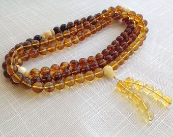 Amber 10 mm Tibet Buddhist 108 Prayer Beads Mala Necklace, Yoga Meditation Beads, round hape