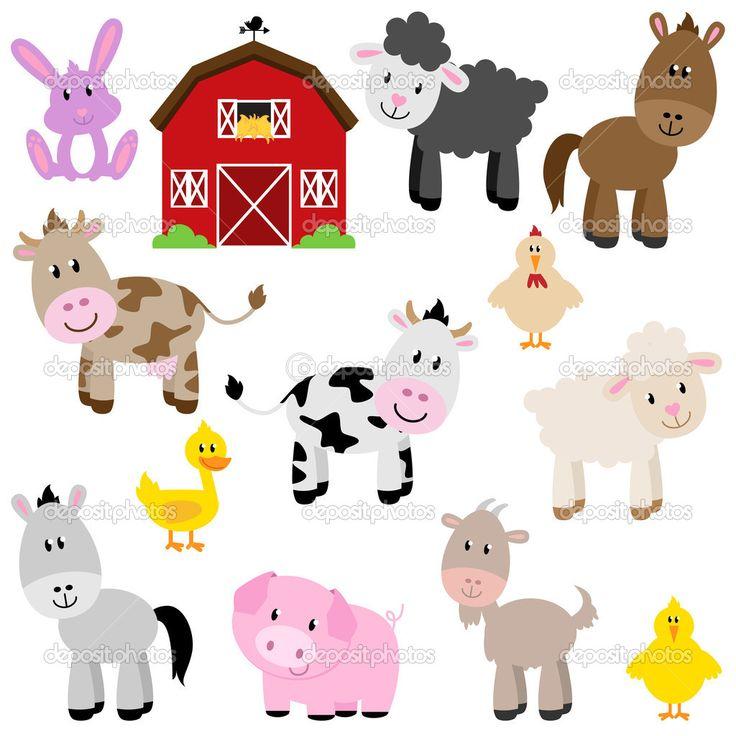 Descargar - Colección de vectores de animales de granja de dibujos animados lindo y granero — Ilustración de stock #27835231