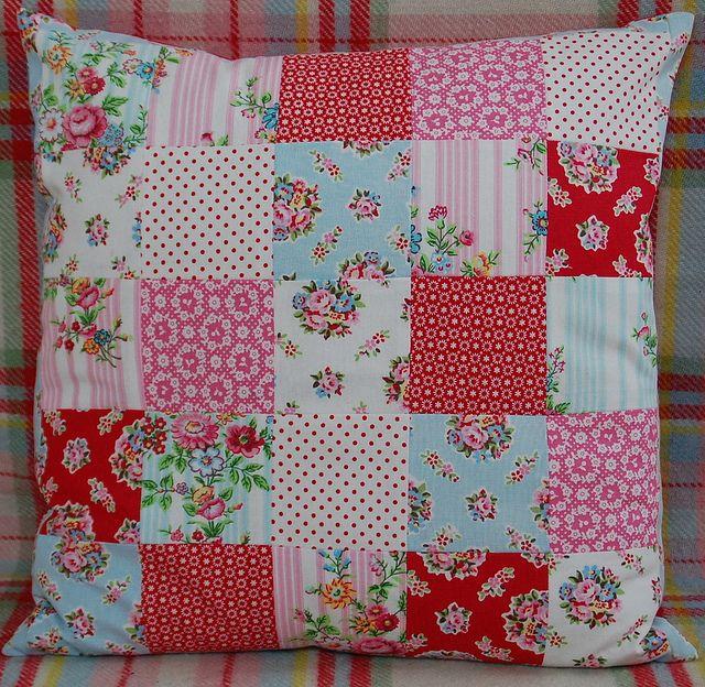 Greengate patchwork pillow by Dittepigen, via Flickr