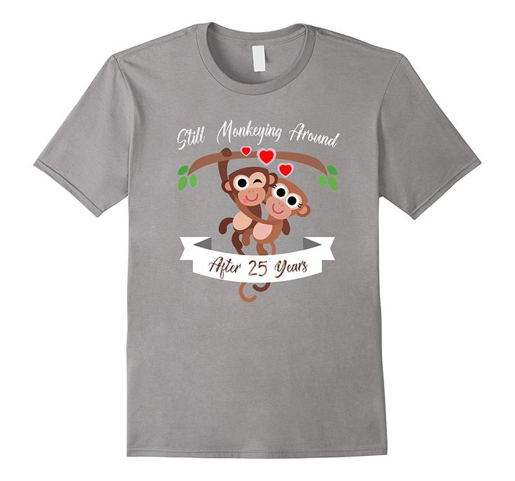 25th Wedding Anniversary T-Shirt Funny Monkey Couple Tee