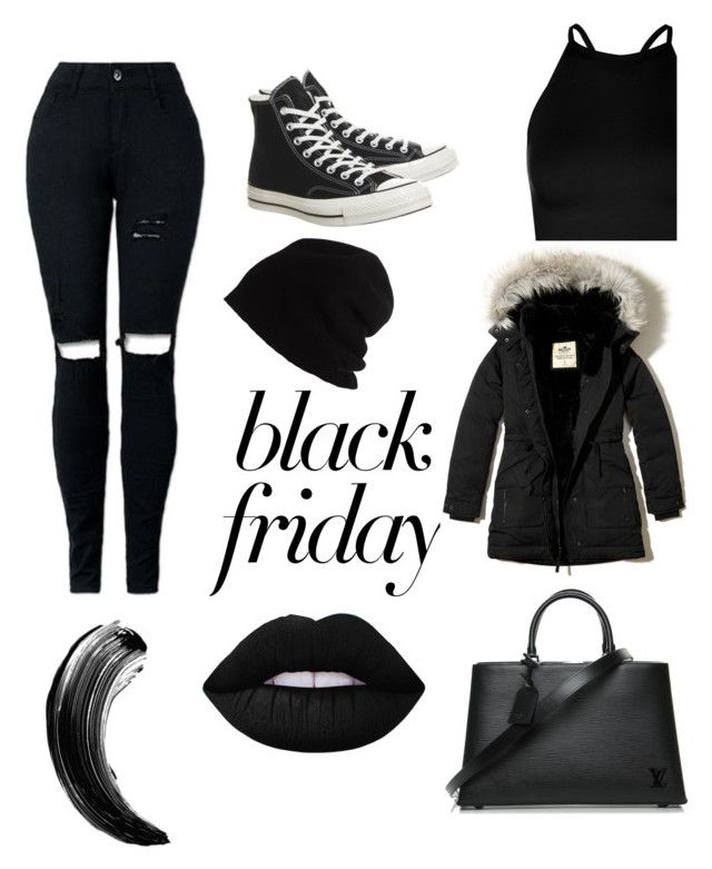 """""""Untitled #18"""" by jasmimosa on Polyvore featuring Boohoo, Hollister Co., Converse, SCHA and Louis Vuitton"""