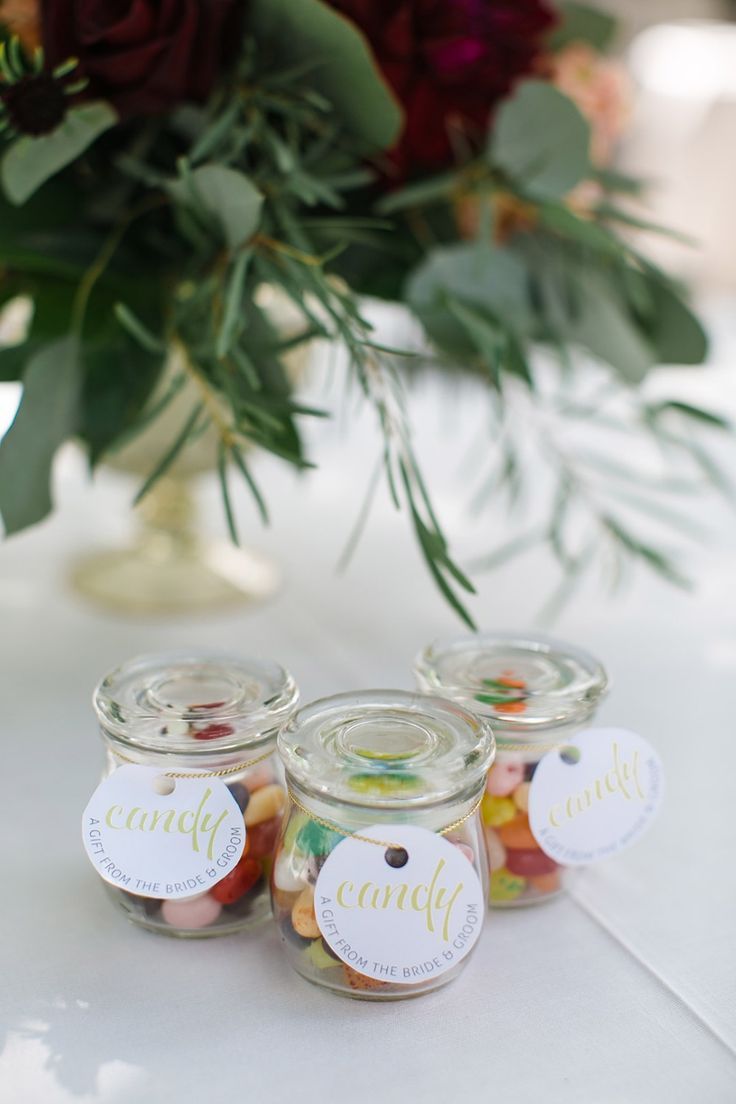 Jars of candy wedding favors