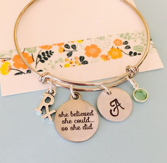 Pharmacist Bracelet, Pharmacy School Graduate Bracelet , She believed she could so she did, Adjustable bracelet, Personalized Bracelet,