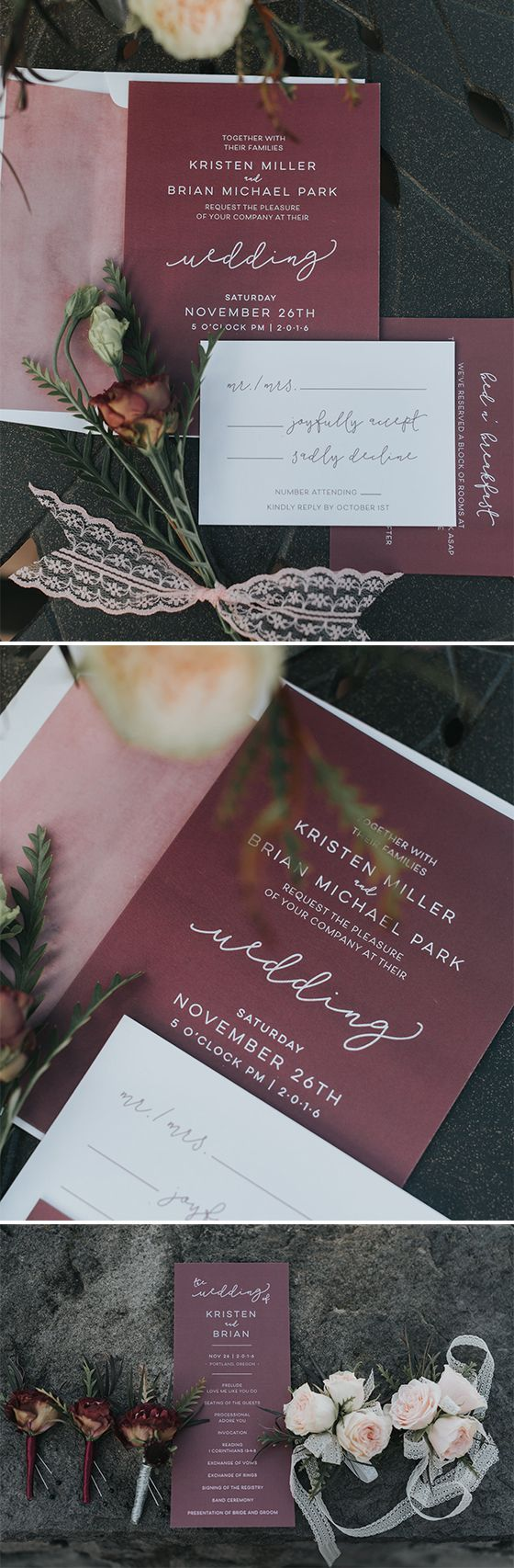 wedding invitation rsvp what does m mean%0A Romantic burgundy and pink wedding invitation suite