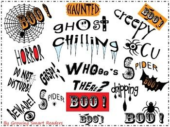 """Now FREE!  Halloween Spooky words clip art!  Do you need to SCARE up some Halloween worksheets or products? Spooky Word Art will put an extra splash of """"creepiness"""" to your creations!"""