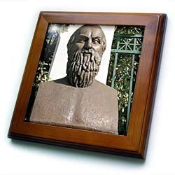 """Aeschylus, Classical Athens Bust, Statue, Athens, Greece - HI02 PRI0000 - Prisma - 8x8 Framed Tile by 3dRose. $22.99. Dimensions: 8"""" H x 8"""" W x 1/2"""" D. Inset high gloss 6"""" x 6"""" ceramic tile.. Keyhole in the back of frame allows for easy hanging.. Solid wood frame. Cherry Finish. Aeschylus, Classical Athens Bust, Statue, Athens, Greece - HI02 PRI0000 - Prisma Framed Tile is 8"""" x 8"""" with a 6"""" x 6"""" high gloss inset ceramic tile, surrounded by a solid wood frame with pre-drilled ke..."""