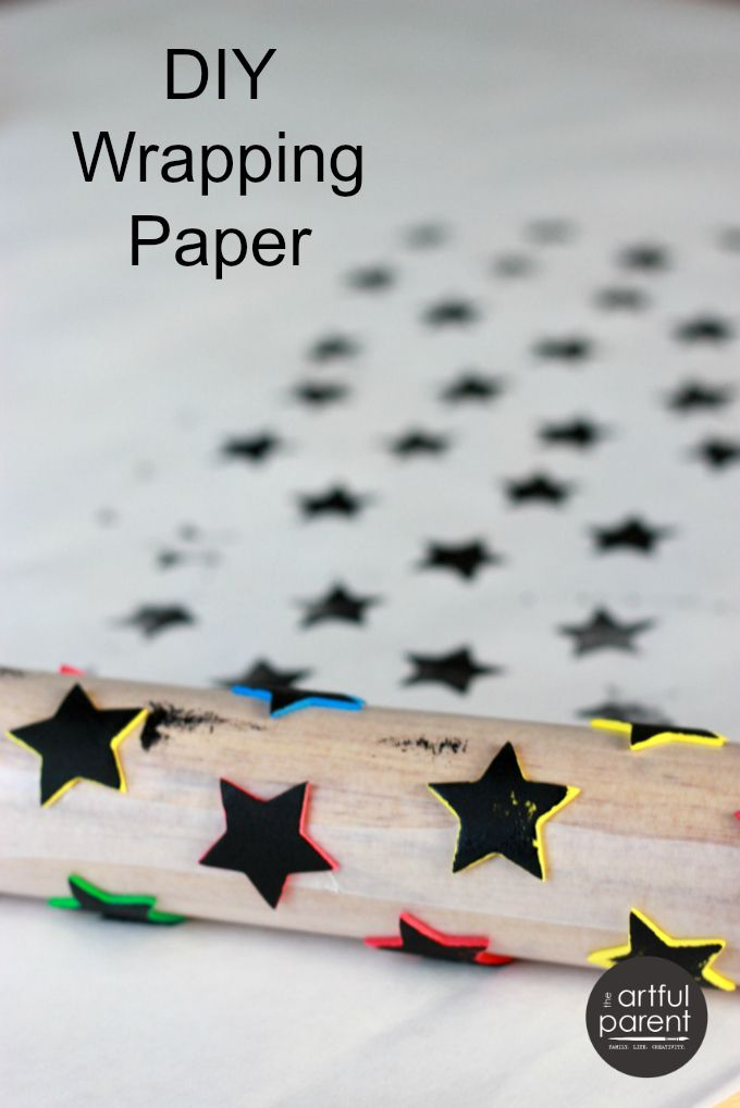 Make Handmade Wrapping Paper with Foam Stickers - Try this with hearts!