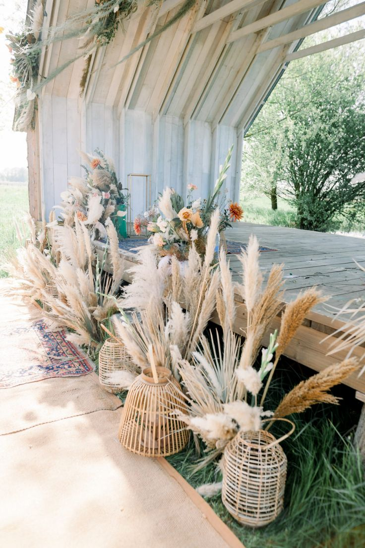 Boho Wedding Dress and Inspiration with Dried Flowers at Wilderness Wedding Venue, Kent.