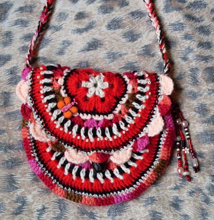 Háčkovaná kabelka dětská red