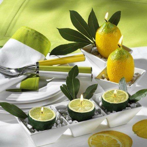 Lemon & lime tea lights put the 'glow' in Citrus table decor