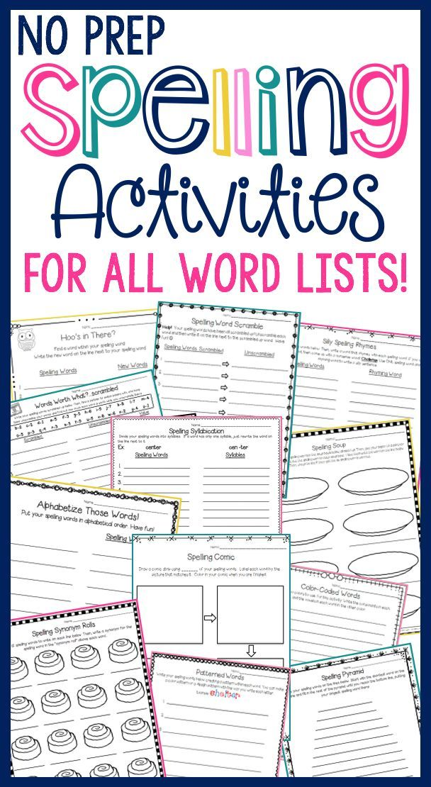 SPELLING ACTIVITIES for ALL WORD LISTS that are NO PREP FOR YOU! Over 30 activities (more continue to be added) for weekly spelling fun. Each activity is differentiated to accommodate word lists of 10, 15, 20, and 25 words!
