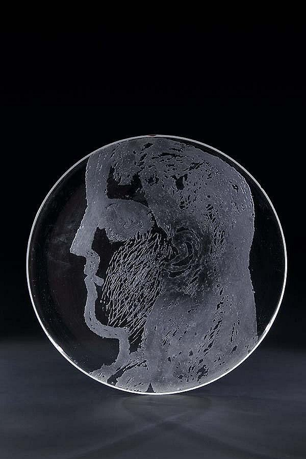Clear glass plate with etching, 1960, D: 36,5 cm