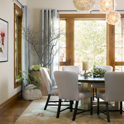 Room with natural wood trim that still looks light and modern, eclectic, not rustic