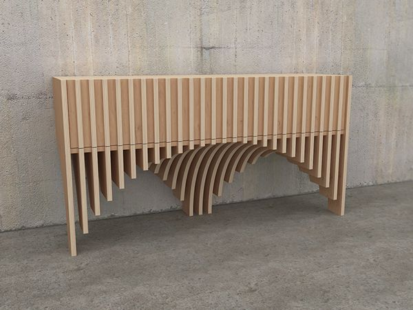 III-series of furniture created by volume of transverse sheets of toned plywood.