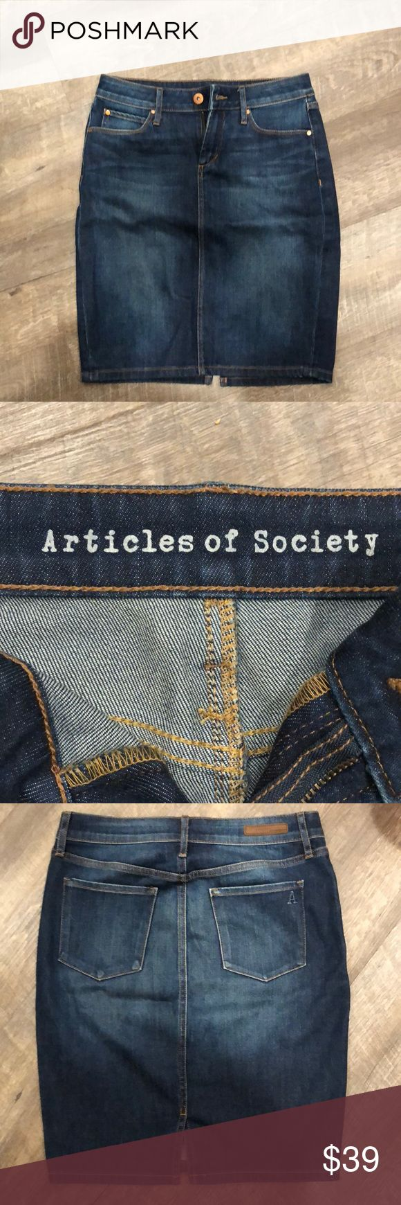 """Articles of Society Size 0/25 Midi Skirt This adorable Articles of Society Size 0/25 Midi Skirt is perfect for spring! You'll love its 20.5"""" length which can be dressed up or down. Please note it does have whiskering both on front and back of the denim, so it is not uniform in color and has a bit of stretch. It comes from a pet and smoke free home and is ready to wear right out of the box. Enjoy! 💐 Articles Of Society Skirts Midi"""