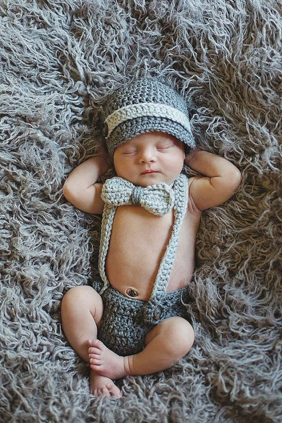 Crochet Newborn Boy S Outfit Photo Prop White Newsboy Hat Diaper Cover With Suspenders And Bow Crochet Baby Photo Prop Newborn Boy Clothes Baby Boy Photo Prop