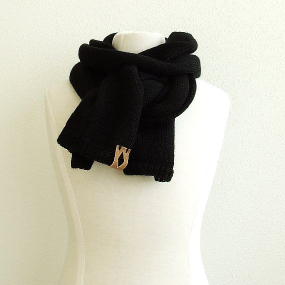 Mens Knit Scarf Black unisex scarf mens knitted scarf by AJatelier