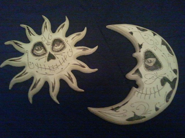 Day of the dead Sun & Moon Wood Burning