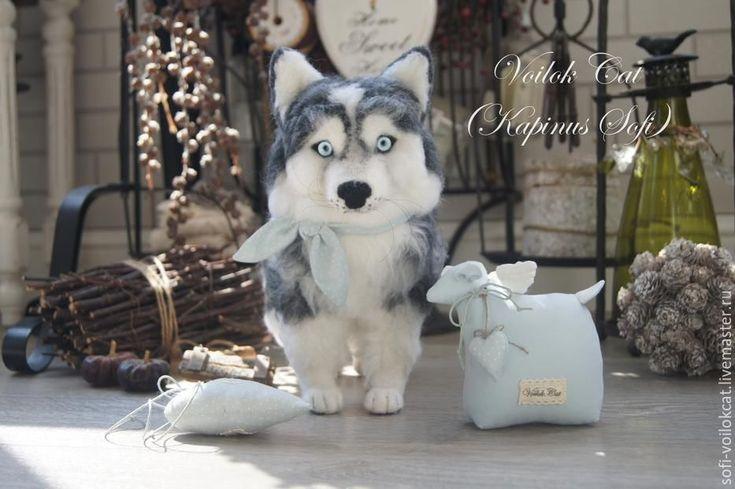 Купить Хаски Стэфан - серый, хаски, копия питомца, щенок из шерсти, собака из шерсти
