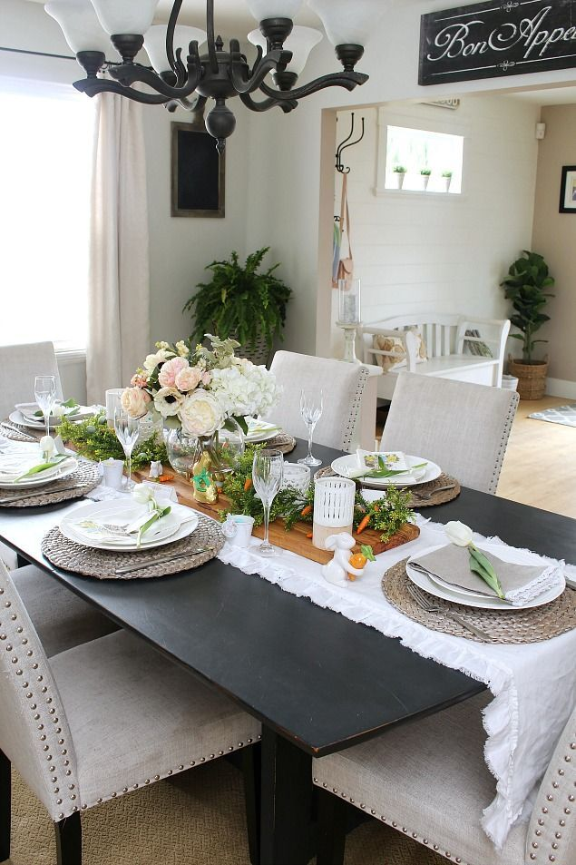 Easter Dining Room And Easter Tablescape Decorating Ideas Clean And Scentsible Dining Room Table Decor Interior Room Decoration Dining Room Decor