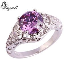 lingmei New Party Junoesque Purple White CZ Silver Rings Size 6 7 8 9 10 11 Free Shipping Wholesale Women Rings Jewelry