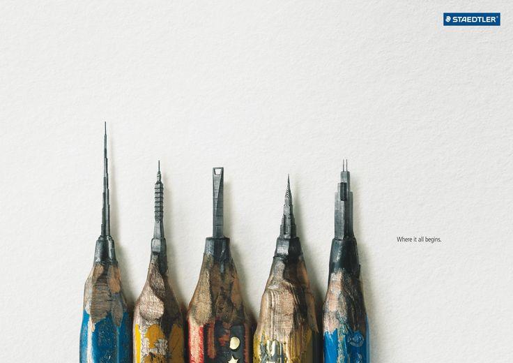 世界一小さい超高層ビル! 思わず見とれる鉛筆の広告   AdGang