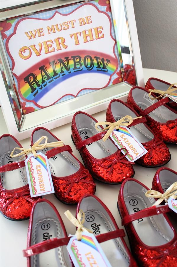 wizard of oz party favors call moms ahead and buy slippers in kids sizes :) Have kids decorate their own to make personalized.... be ready to vacuum glitter for ever.
